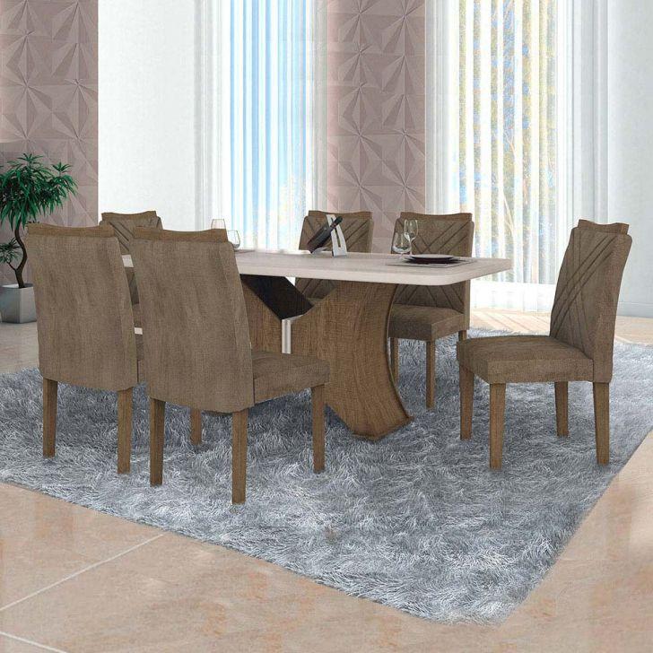 Conjunto de Mesa de Jantar com 6 Cadeiras Munique Veludo Ipê e Off White