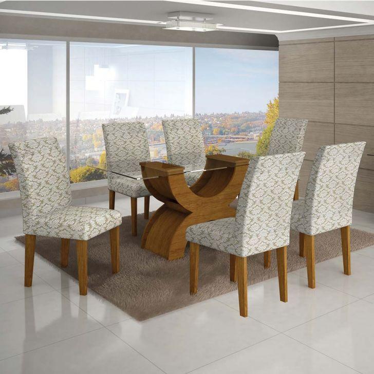 Conjunto de Mesa de Jantar com 6 Cadeiras Olimpia Jacquard Imbuia e Creme