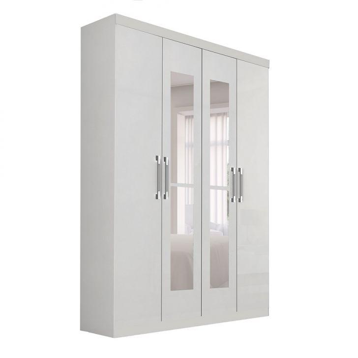 Guarda-Roupa Solteiro com Espelho Duo 4 PT 3 GV Branco c2b2e8e38a56e