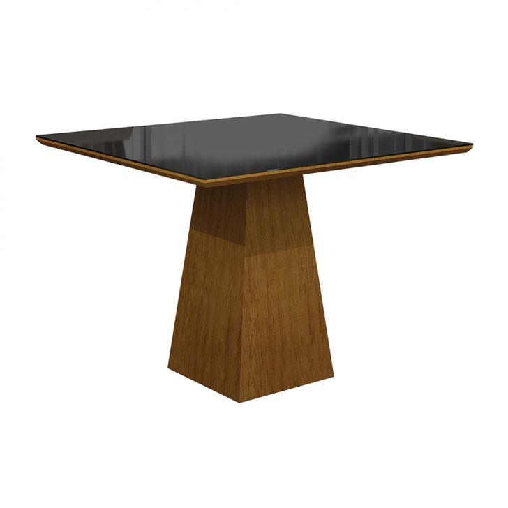 Mesa de Jantar Quadrada Itália Preta e Imbuia Mel 90 cm