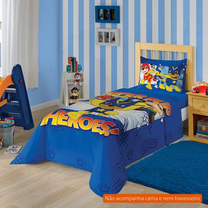 154682388d Jogo de Cama Infantil com 2 Peças Patrulha Canina III Algodão Azul