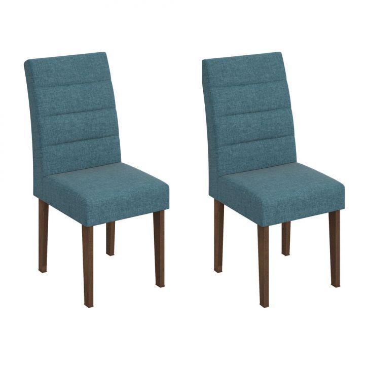 Conjunto com 2 Cadeiras de Jantar Fiorella Azul Imbuia Soft