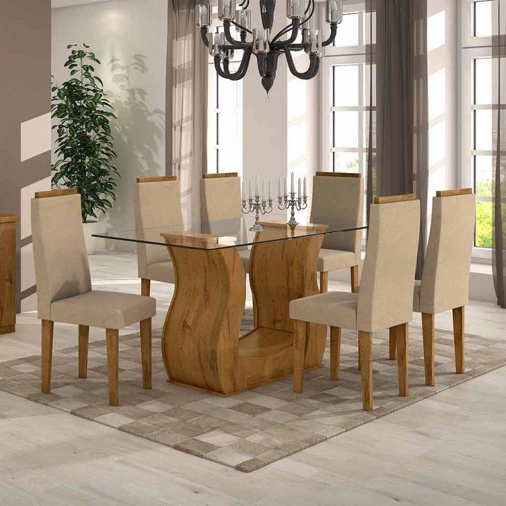 Conjunto de Mesa com 6 Cadeiras Dafne Veludo Rovere