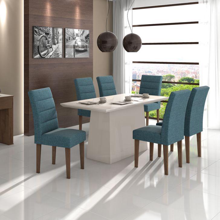 Conjunto de Mesa de Jantar Nevada com 6 Cadeiras Fiorella Linho Rinzai Azul e...