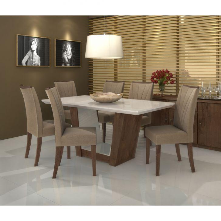 Conjunto de Mesa de Jantar com 6 Cadeiras Apogeu I Suede Animale Bege e Off...