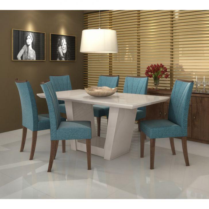 Conjunto de Mesa de Jantar com 6 Cadeiras Apogeu II Linho Rinzai Azul e Off...