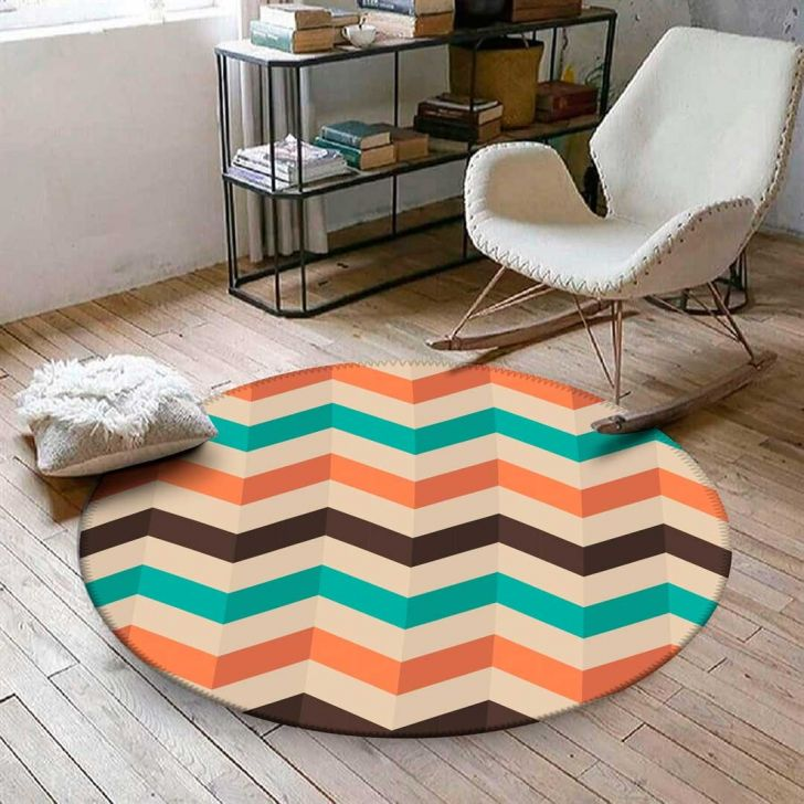 Tapete Redondo Wevans Chevron Color 84cm - Colorido - 1 - thumbnail