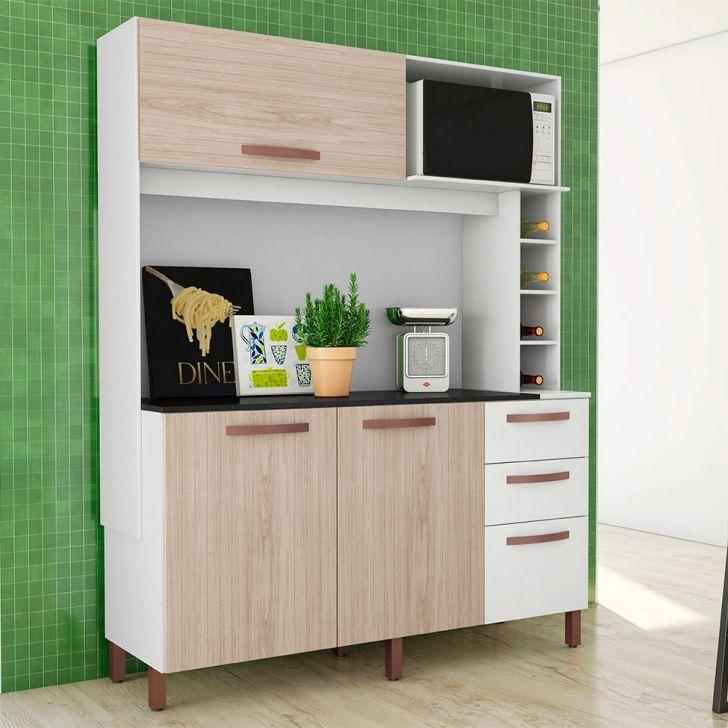 Cozinha Compacta Avelã 4 PT 3 GV Branco e Teka