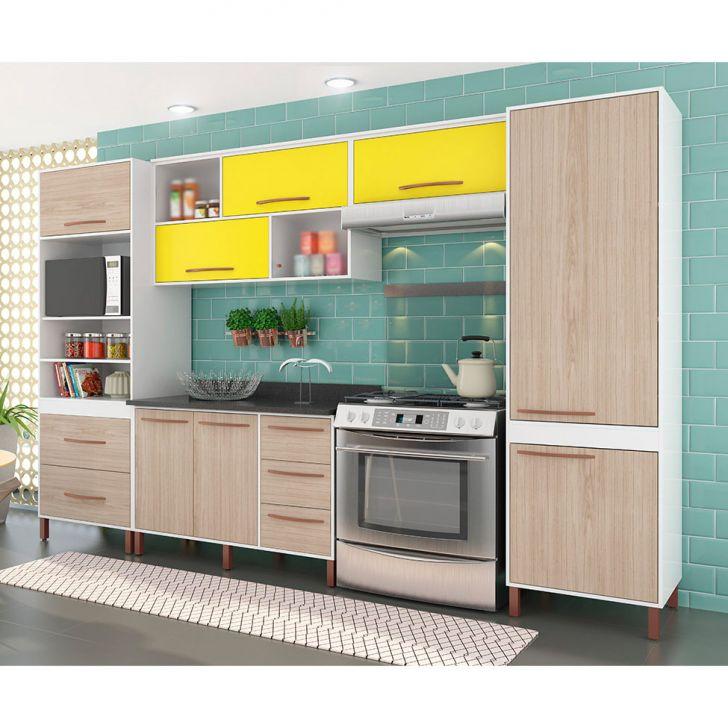 Cozinha Completa Castanha 10 PT 5 GV Branco e Amarelo
