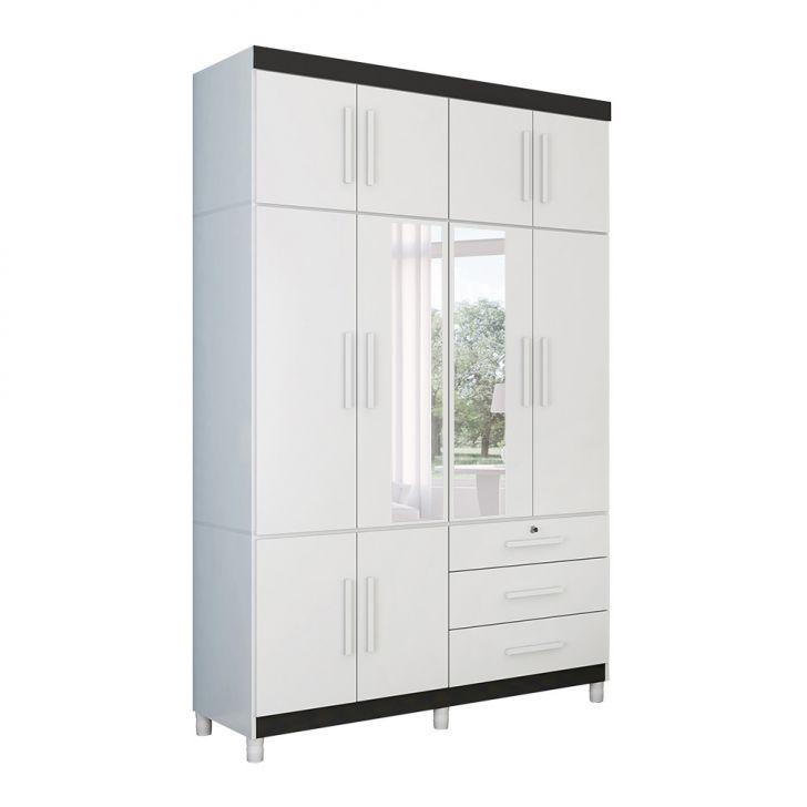 Guarda-Roupa Casal com Espelho Etios 10 Pt  3 Gv Branco e Preto