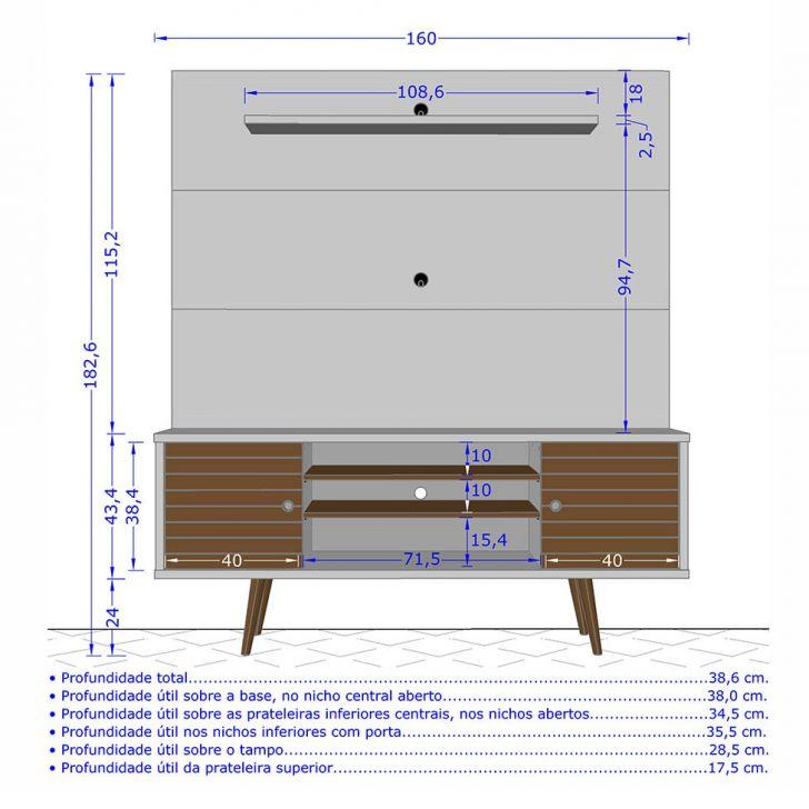 Foto 3 - Estante para Home Theater 60 Polegadas Tivoli I Madeira Rústica 160 cm