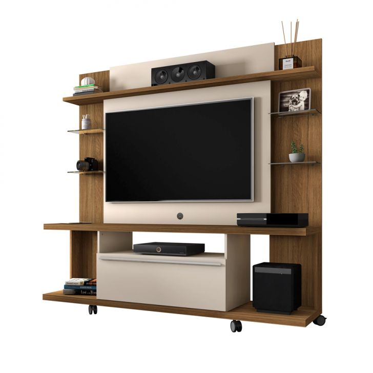 Estante para Home Theater e TV 47 Polegadas Torino Cinamomo e Off-White