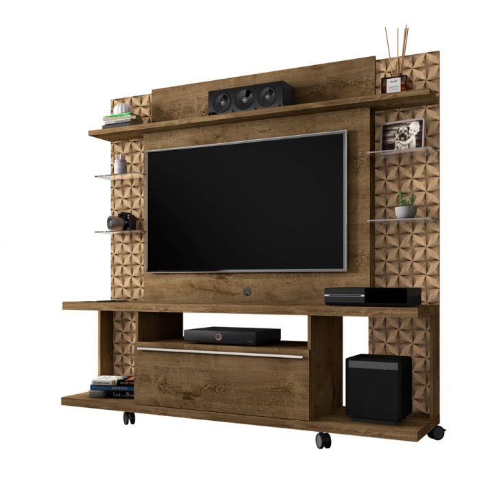Estante para Home Theater e TV 47 Polegadas Torino Madeira Rústica e Madeira 3D