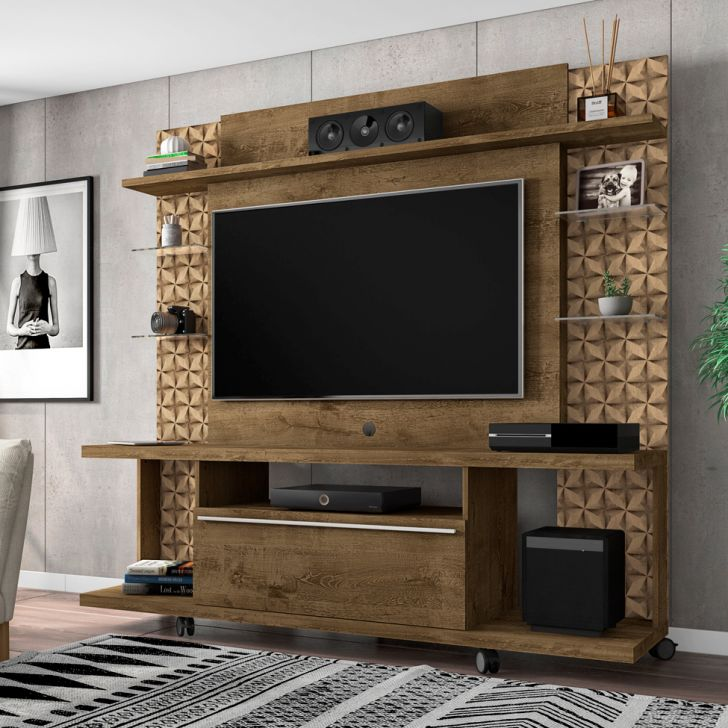 Home Theater O Cinema Na Sua Casa: Estante Para Home Theater E TV 47 Polegadas Torino Madeira