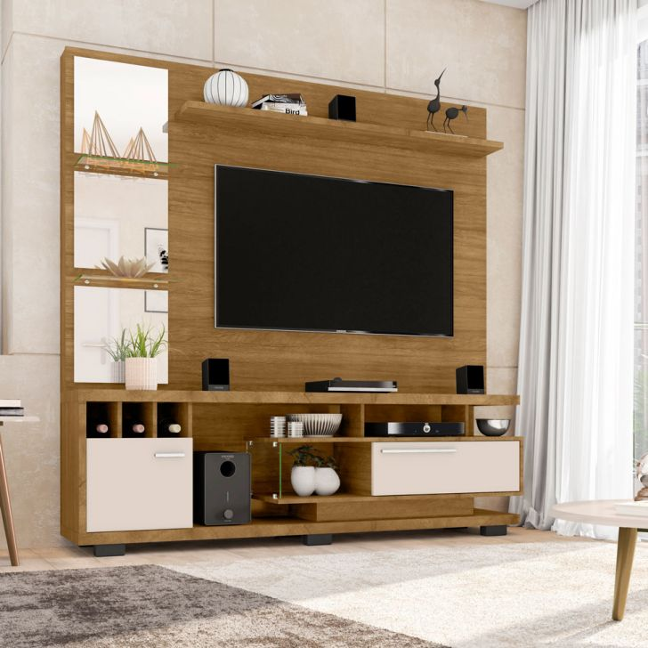 Estante para Home Theater e TV 60 Polegadas Tucson Cinamomo e Off-White