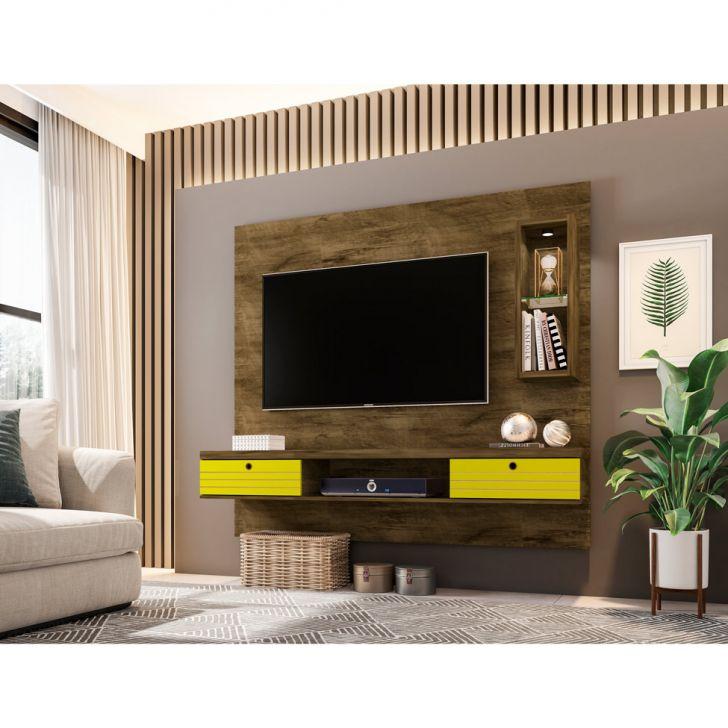 Painel para TV 65 Polegadas Diamante Madeira Rústica e Amarelo 180 cm