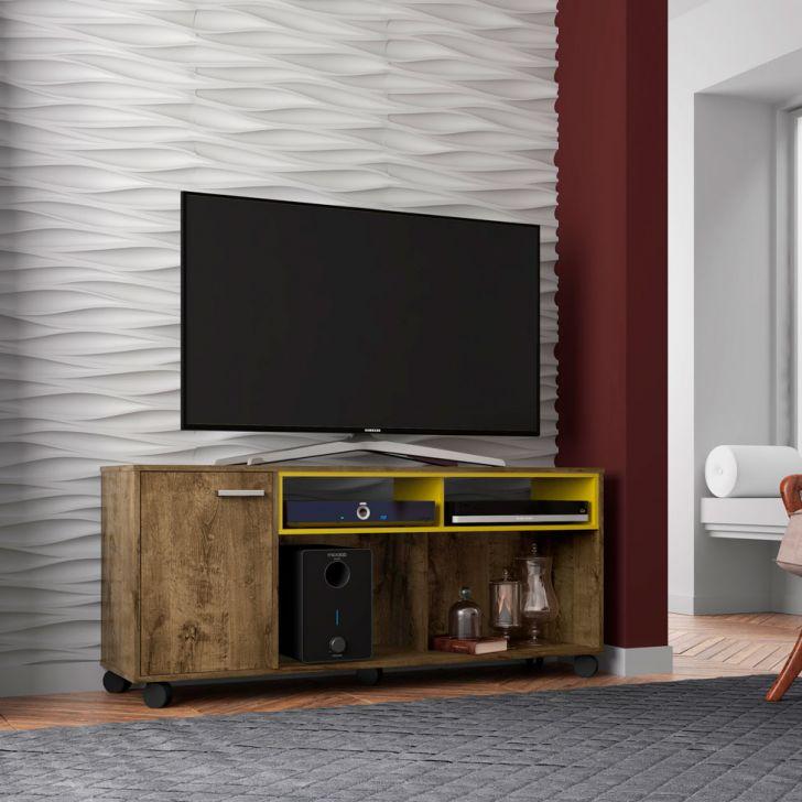 Rack para TV até 55 Polegadas New Creta Madeira Rústica e Amarelo