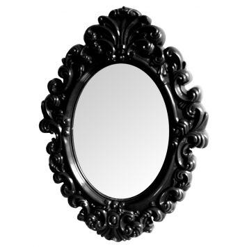 Espelho Plastico Oval Medium Preto 51 X 38 X 3 Cm   - Metropole DESCONTO DE R$: 55,76 (61,19% OFF) - OFERTA MOBLY