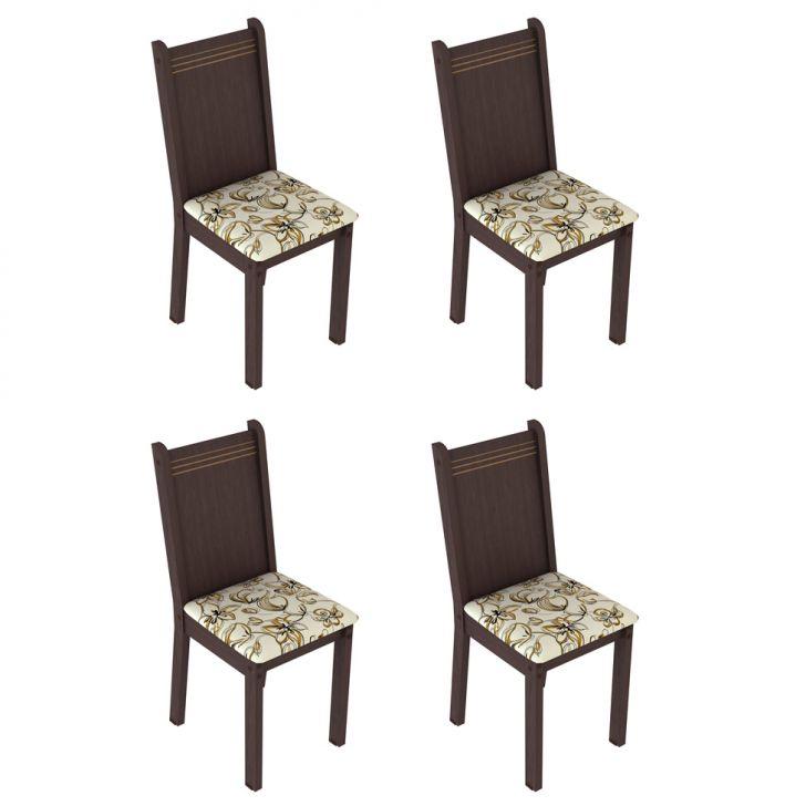 Conjunto com 4 Cadeiras Cora e Lírio