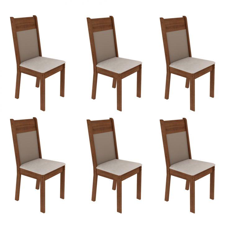 Conjunto com 6 Cadeiras de Jantar Denver Suede Rústico e Pérola