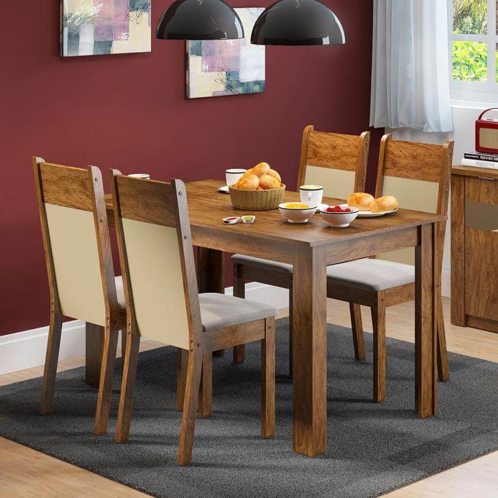 Conjunto de Mesa com 4 Cadeiras Havana Rustic Com Suede Perola