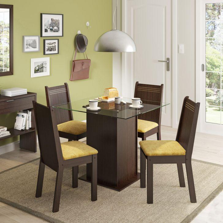 Conjunto de Mesa com 4 Cadeiras Lucy Tabaco e Palha
