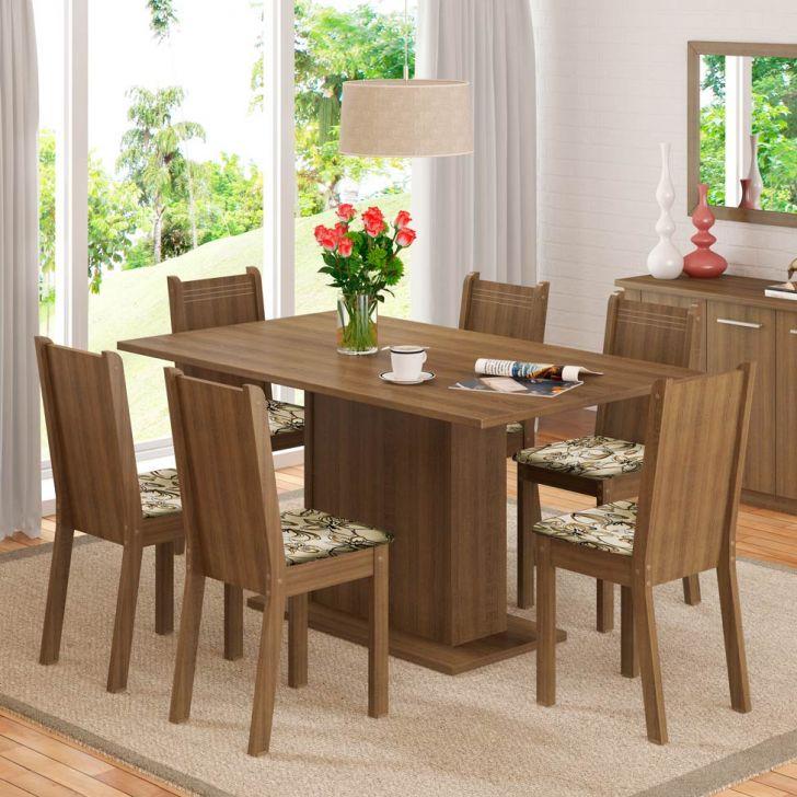 Conjunto de Mesa com 6 Cadeiras Megan Rustic Com Assento Lirio Bege