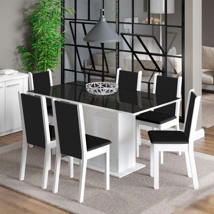 Conjunto de Mesa com 6 Cadeiras de Jantar Anis Branco Corino Preto