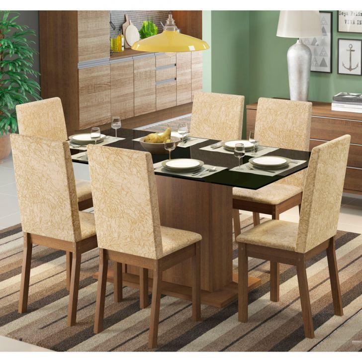 Conjunto de Mesa com 6 Cadeiras de Jantar Nanda Suede Rústico Imperial