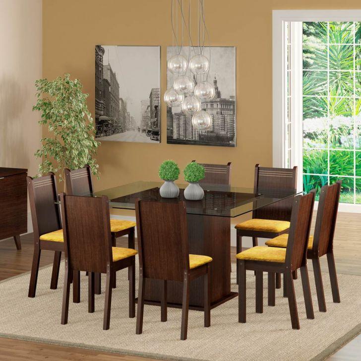 Conjunto de Mesa com 8 Cadeiras Camila Tabaco e Palha