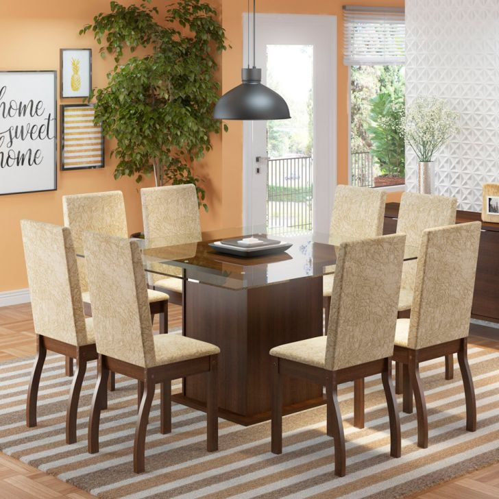 Conjunto de Mesa com 8 Cadeiras de Jantar Milene Suede Tabaco Imperial