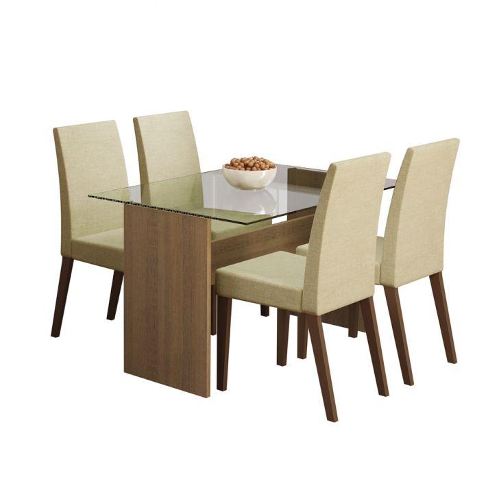 Conjunto de Mesa de Jantar 120 cm e 4 Cadeiras Melrose Rustic e Saara