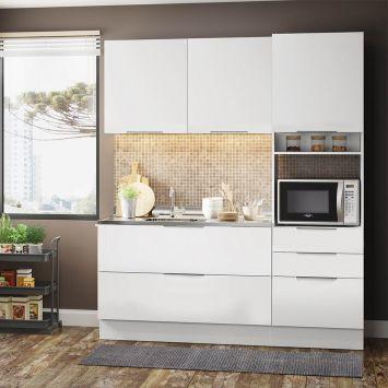 Cozinha Compacta Stella Smile 5 PT 3 GV Branco DESCONTO DE R$: 895,00 (51,14% OFF) - OFERTA MOBLY