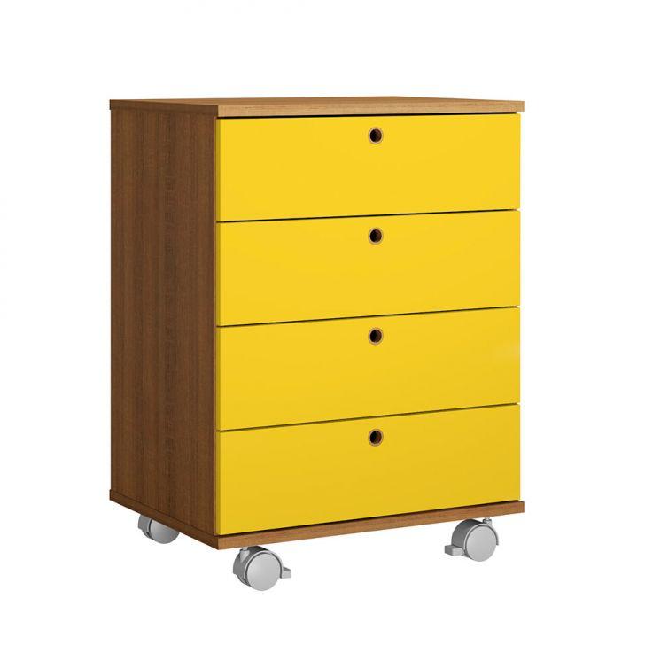 Gaveteiro Geo 4 GV Rustic e Amarelo