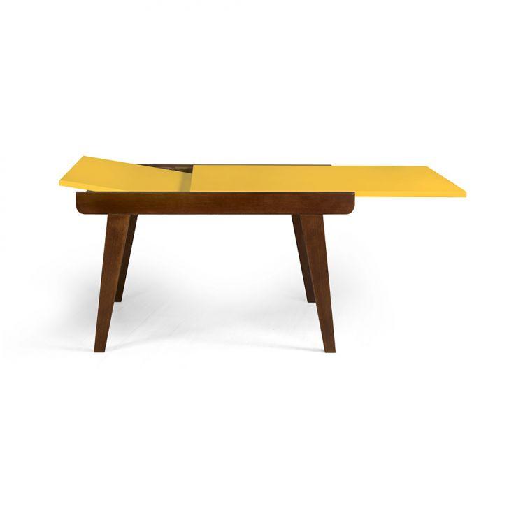 Mesa de Jantar Retangular Extensível Maxi Cacau e Amarelo