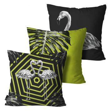 Kit com 3 Almofadas Flamingo 45x45cm Colorido DESCONTO DE R$: 34,00 (26,38% OFF) - OFERTA MOBLY