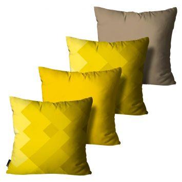 Kit com 4 Almofadas Geométrica Amarelo 45x45cm DESCONTO DE R$: 75,00 (39,49% OFF) - OFERTA MOBLY