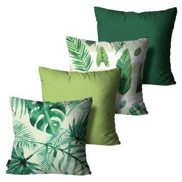 Kit com 4 Capas para Almofadas Floral Verde 45x45cm DESCONTO DE R$: 32,00 (26,69% OFF) - OFERTA MOBLY