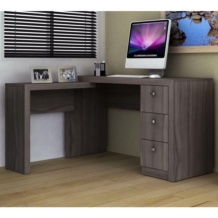 Escrivaninha de Canto Reversível Home Office Carvalho