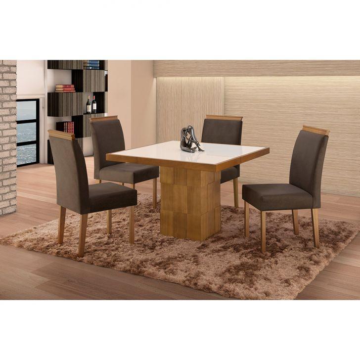 Conjunto de Mesa de Jantar com 4 Cadeiras e Tampo de Madeira Maciça Arezo I...