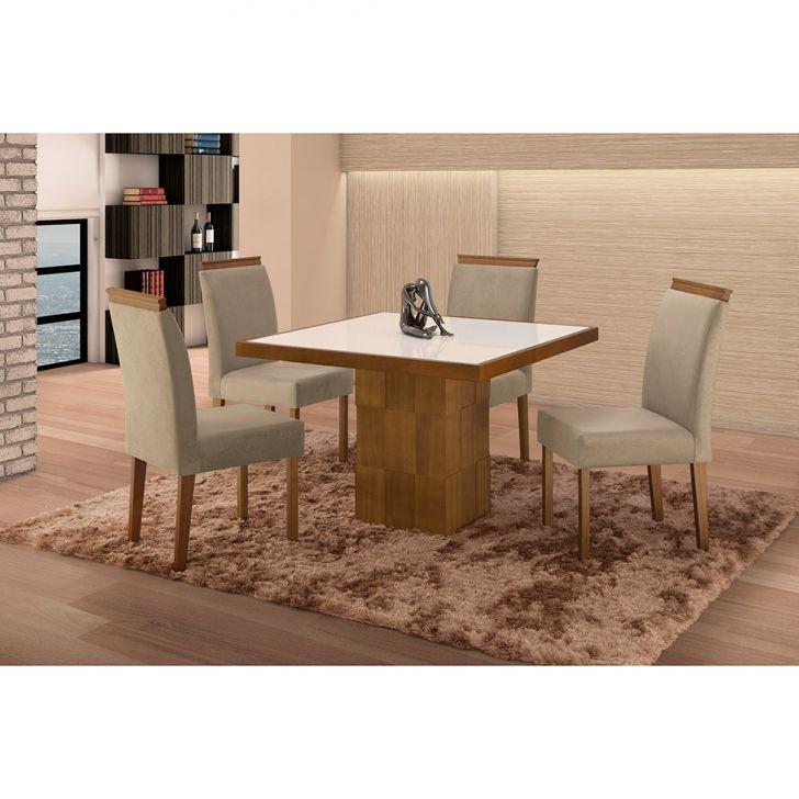 Conjunto de Mesa de Jantar com 4 Cadeiras e Tampo de Madeira Maciça Arezo III...