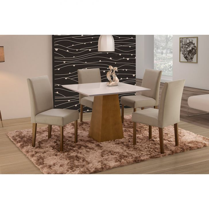 Conjunto de Mesa de Jantar com 4 Cadeiras e Tampo de Madeira Maciça Turquia I...