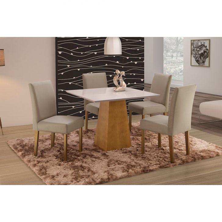 Conjunto de Mesa de Jantar com 4 Cadeiras e Tampo de Madeira Maciça Turquia III...
