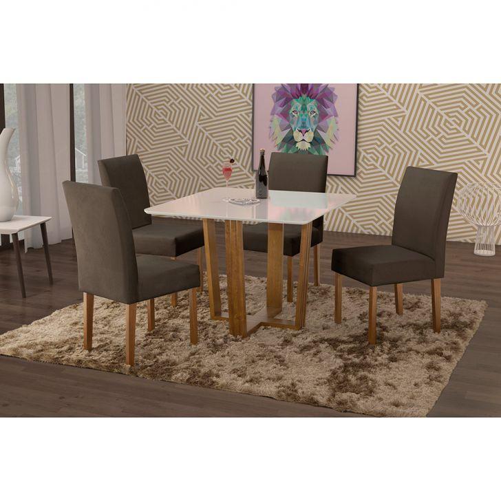 Conjunto de Mesa de Jantar com 4 Cadeiras e Tampo de Madeira Maciça Valencia II...