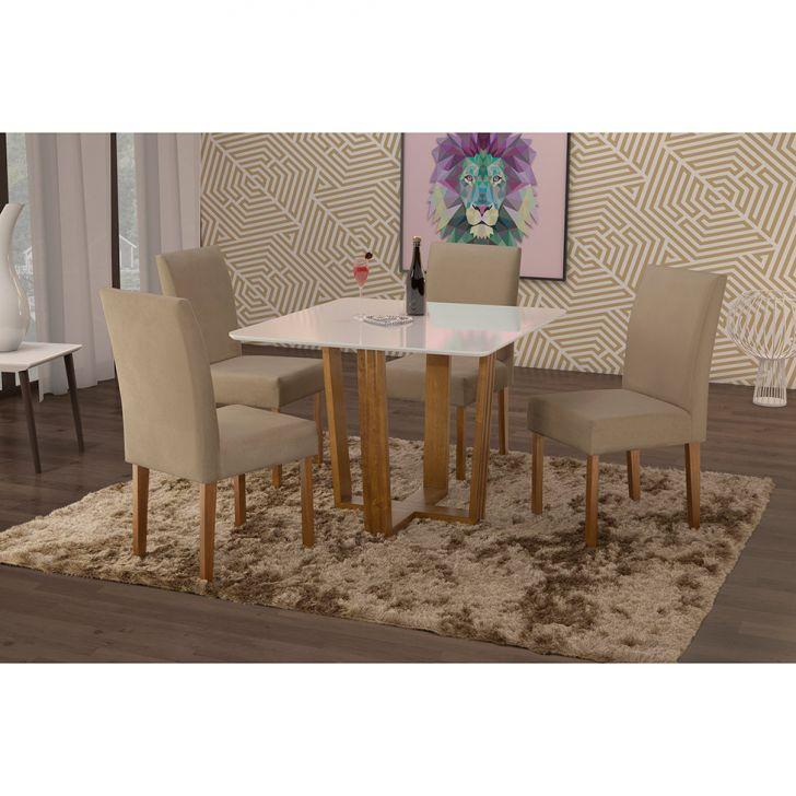 Conjunto de Mesa de Jantar com 4 Cadeiras e Tampo de Madeira Maciça Valencia IV...