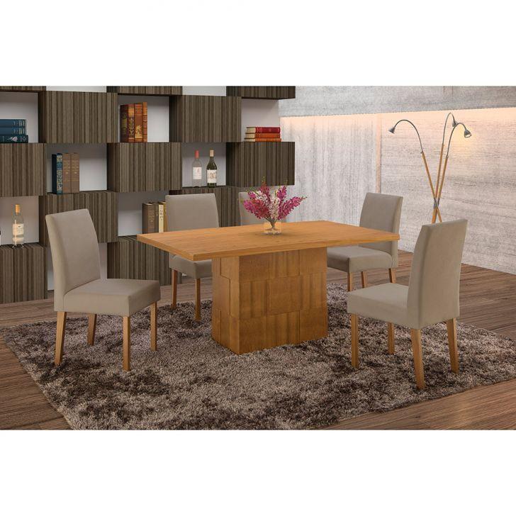Conjunto de Mesa de Jantar com 6 Cadeiras e Tampo de Madeira Maciça Arezo I...