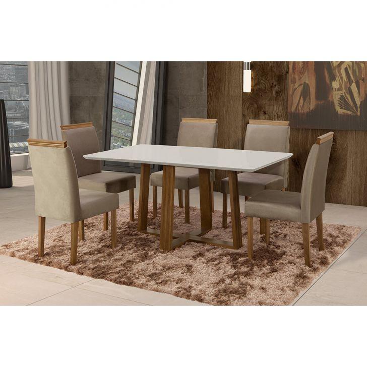 Conjunto de Mesa de Jantar com 6 Cadeiras e Tampo de Madeira Maciça Espanha II...