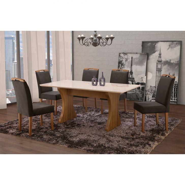 Conjunto de Mesa de Jantar com 6 Cadeiras e Tampo de Madeira Maciça Milão Curva...