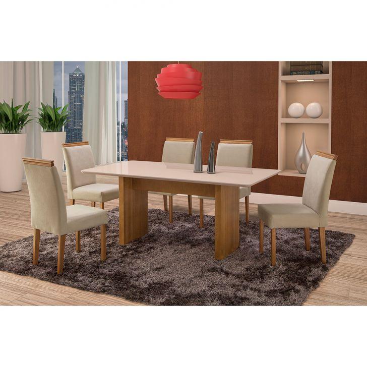 Conjunto de Mesa de Jantar com 6 Cadeiras e Tampo de Madeira Maciça Milão Reta...