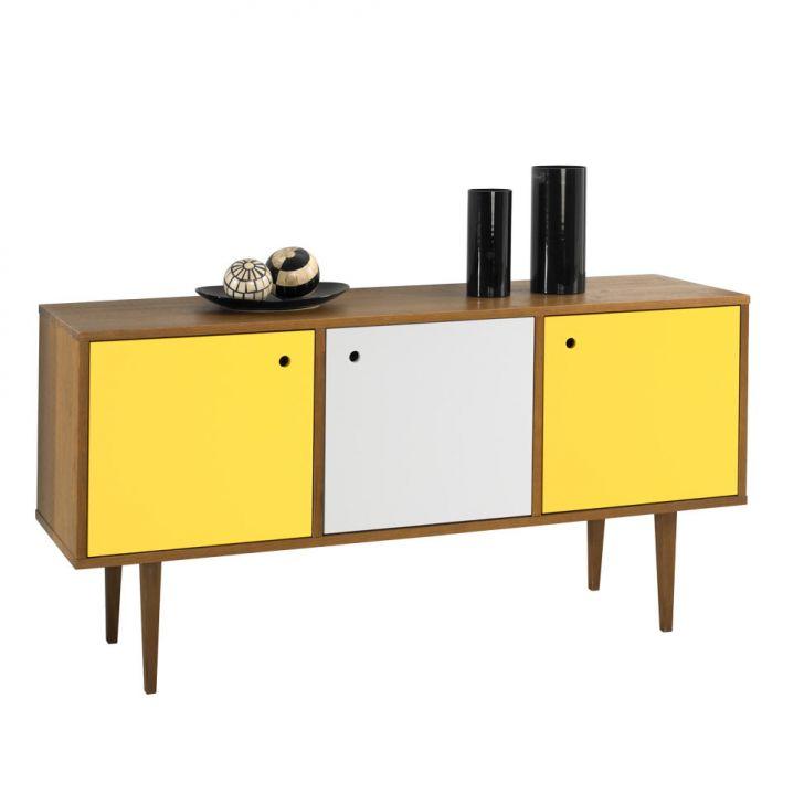 Buffet Vintage 353-0464 Madeira, Branco & Amarelo